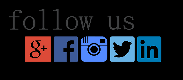 Follow, Facebook, Twitter, Instagram