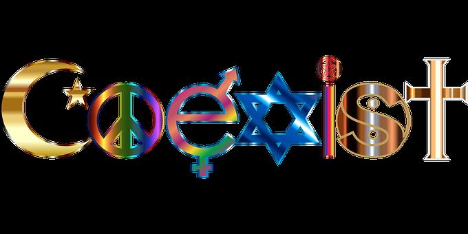 Coexist, Islam, Peace Symbol, Masculine