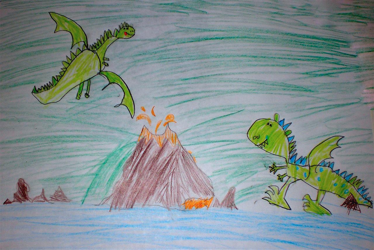 Детские рисунки драконов фото