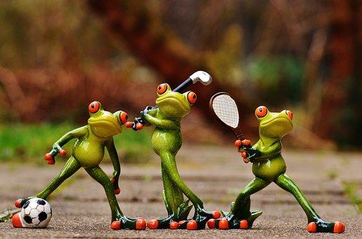Frösche Sportler Fußball Tennis Golf Lusti
