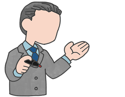 A drawing of a man in suit and holding a pen with a raised left arm to make a comment on How does Aweber compare with its competitors?
