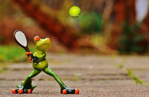 Frosch Tennis Lustig Figur Spaß Niedlich S