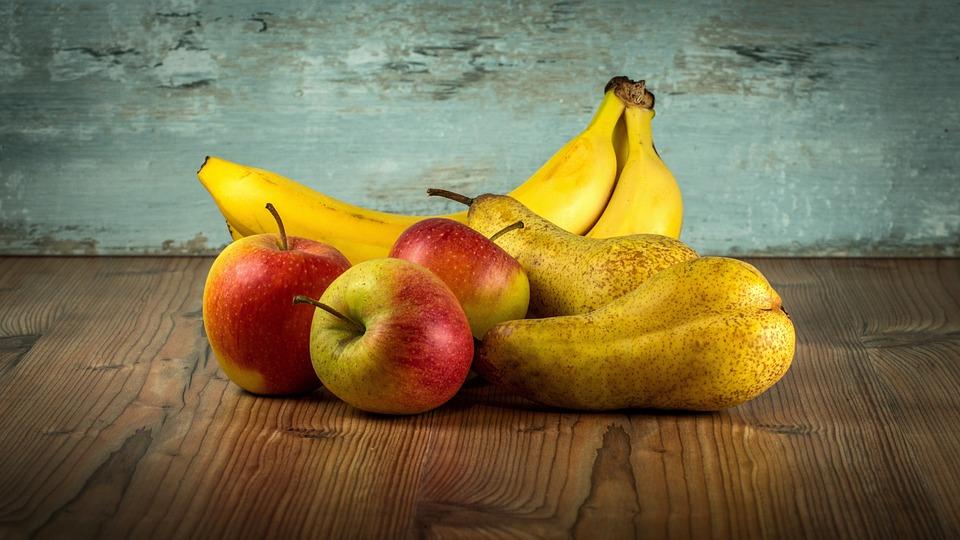 フルーツ, ビタミン, 健康, 甘い, バナナ, 梨, りんご, アップル, 庭, 食べ物, 栄養