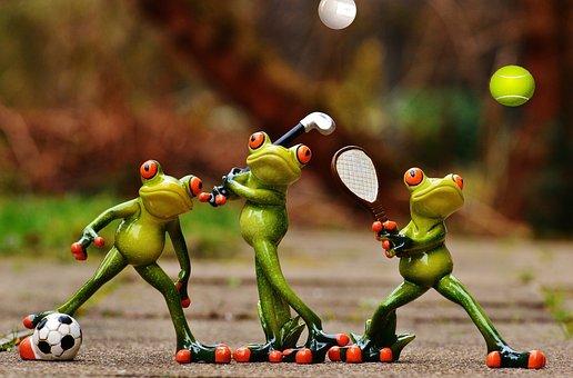 Frösche, Sportler, Fußball, Tennis, Golf