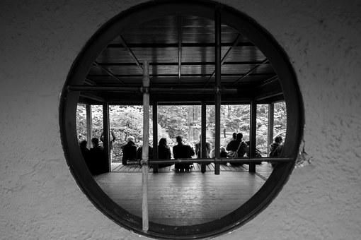 People, Black And White, Circle, Peeking