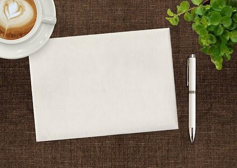 注意垫, 笔, 咖啡, 杯, 植物, 办公桌, 写作, 纸, 垫, 请注意