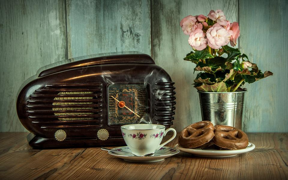 Retro, Radio, Old, Cup, Historical, Still Life, Flower