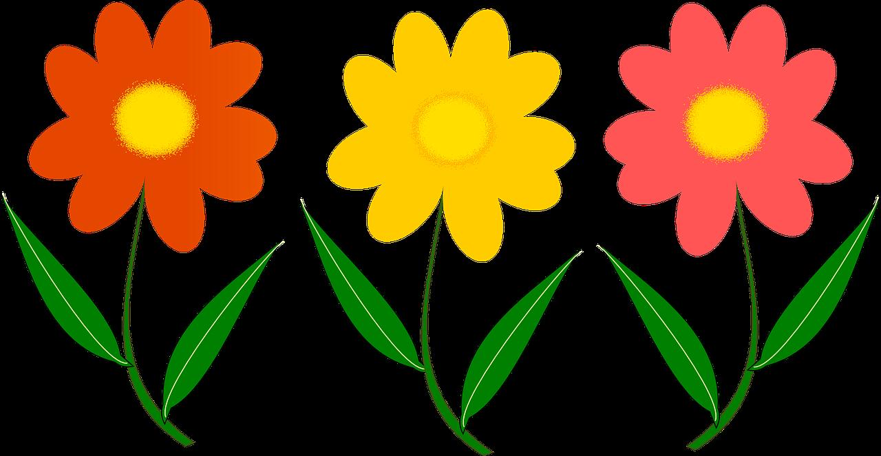 Tre Blomster, Plante, Vektor Billede