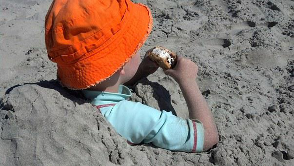 Sand, Kid, Beach, Snack, Summer, Tasty