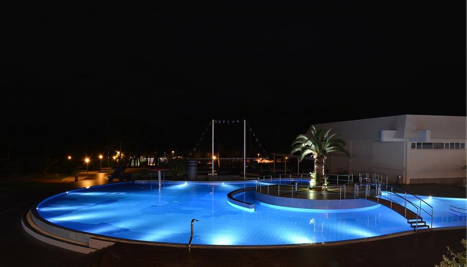 Svømming, Pool, Natt, Hotel, Kvelden, Gjestfrihet, Vann
