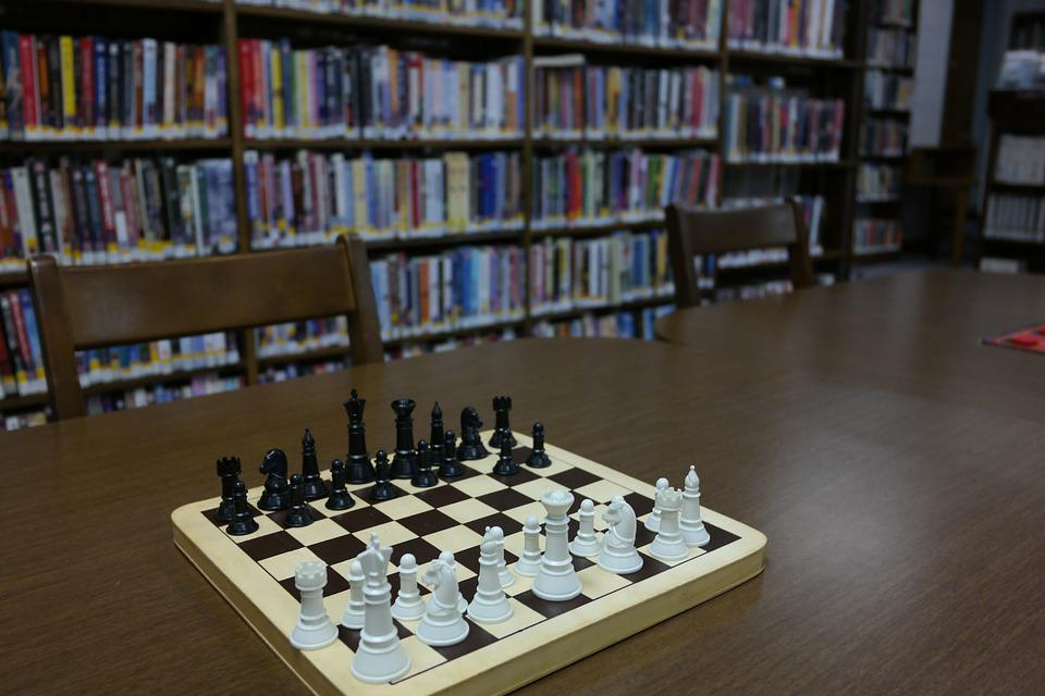 Library, Chess, Chessboard, Books