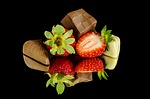 strawberries, chocolate, food