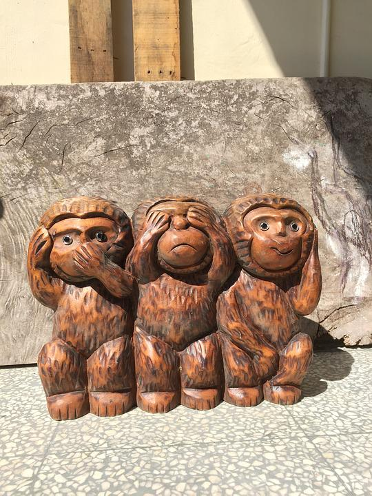 Three Monkeys, Aap, Houten Hoofd, Drie Geen Aap