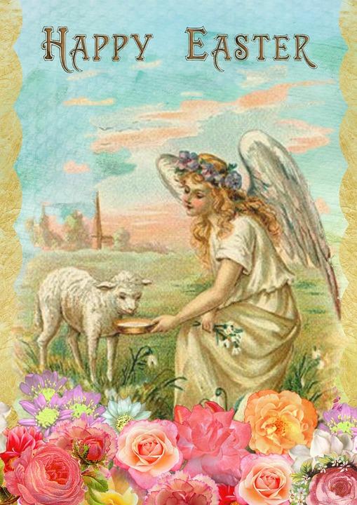 Easter Greeting Card Vintage Angel Lamb