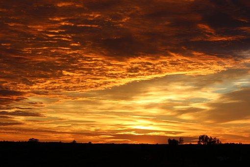 Sunrise, Sky, Uluru, Beginning, Desert