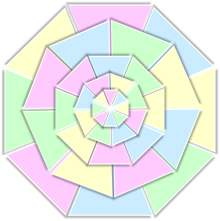 Color Wheel 3D Pastels Pale Pink Green Yellow