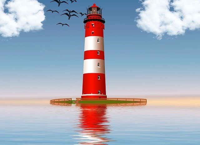 Free illustration: Lighthouse, Ocean, Sea, Red, White ... | 640 x 466 jpeg 50kB