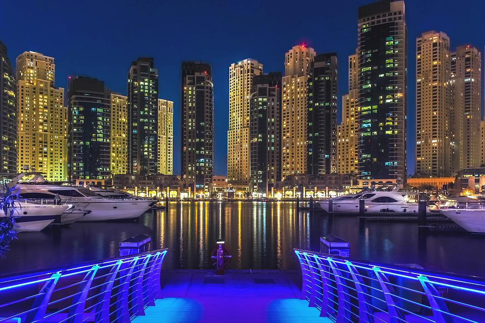 Dubai, Dubai Marina, Emirates, Gulf, Illuminated