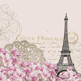 Background Vintage Eiffel Flower Pink