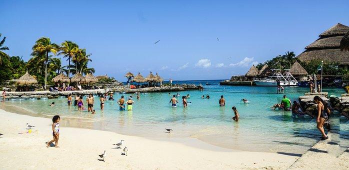 Xcaret, Cancun, Mexique, Lagune, Cabane