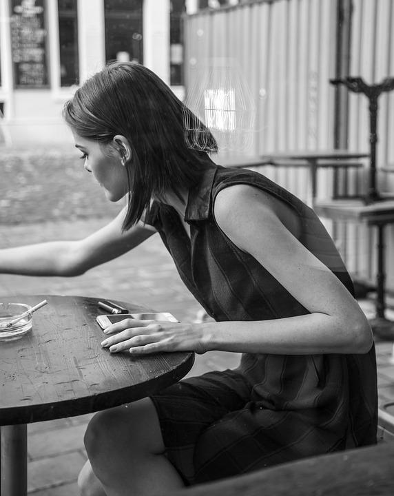 Girl, Street, Fashion, Cafe, Coffee, Cigarette, Fag