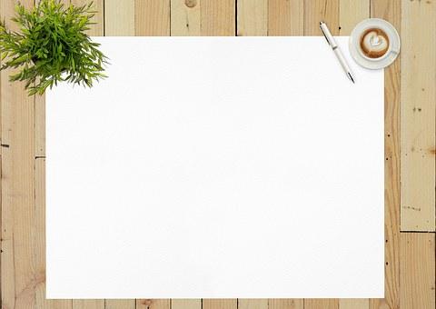 紙, 白紙, 空, ペン, 日記, 空白の日記, コーヒー カップ, デスク