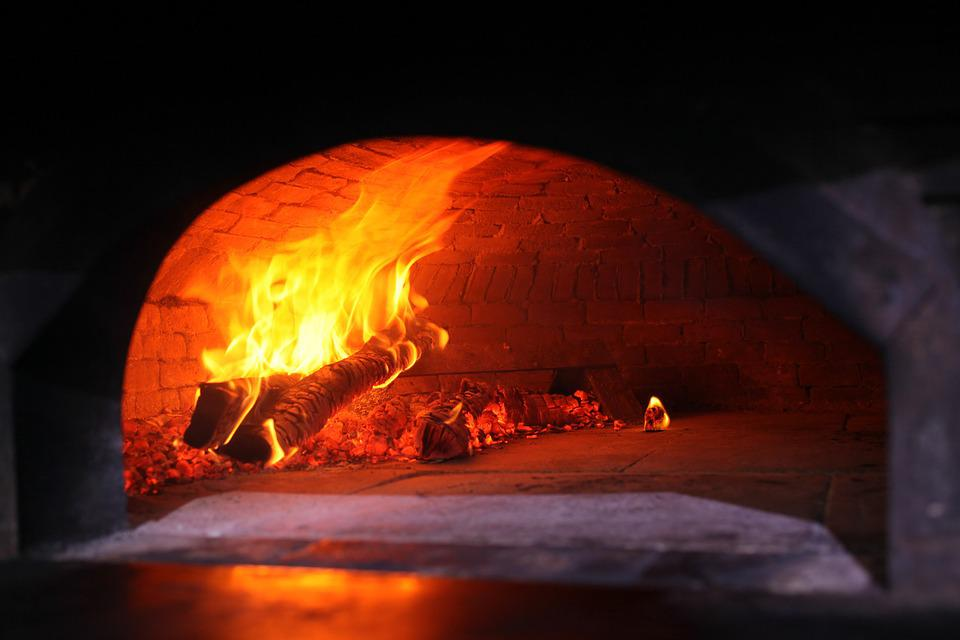 wood fired oven oven pizza fire lit kitchen - Wood Fired Oven