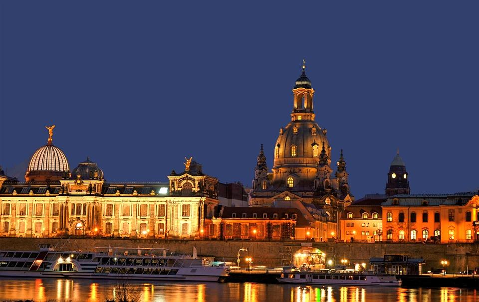 Dresden, Elbe, Frauenkirche, Sonnenuntergang