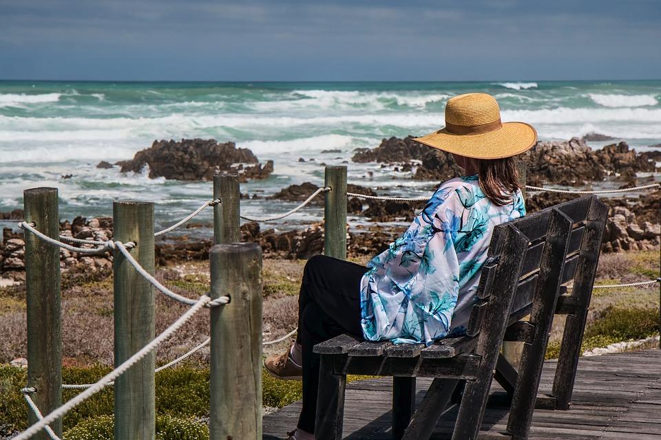 Mulher Sentada, Beira Mar, Rochas, Sozinho, Pensamento