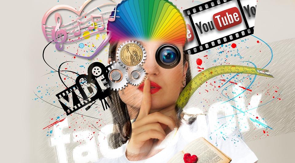 Social Media, Interaktion, Frau, Abstrakt, Kopf, Medien