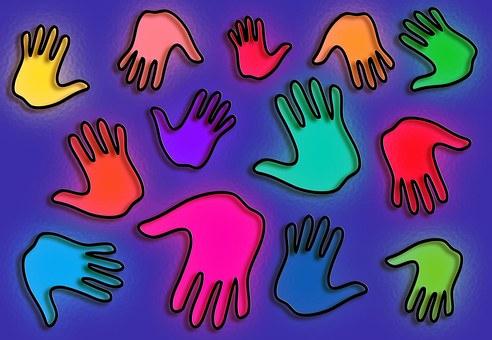 Ruce, Otisky Rukou, Barvy, Vícebarevné