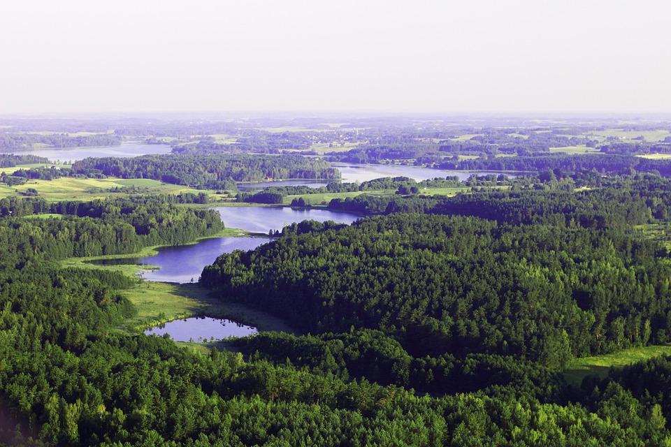 Litauen, Wald, Seen, Vogelperspektive