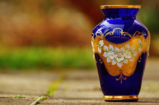 Vase, Blue, Glass, Ornament, Flower