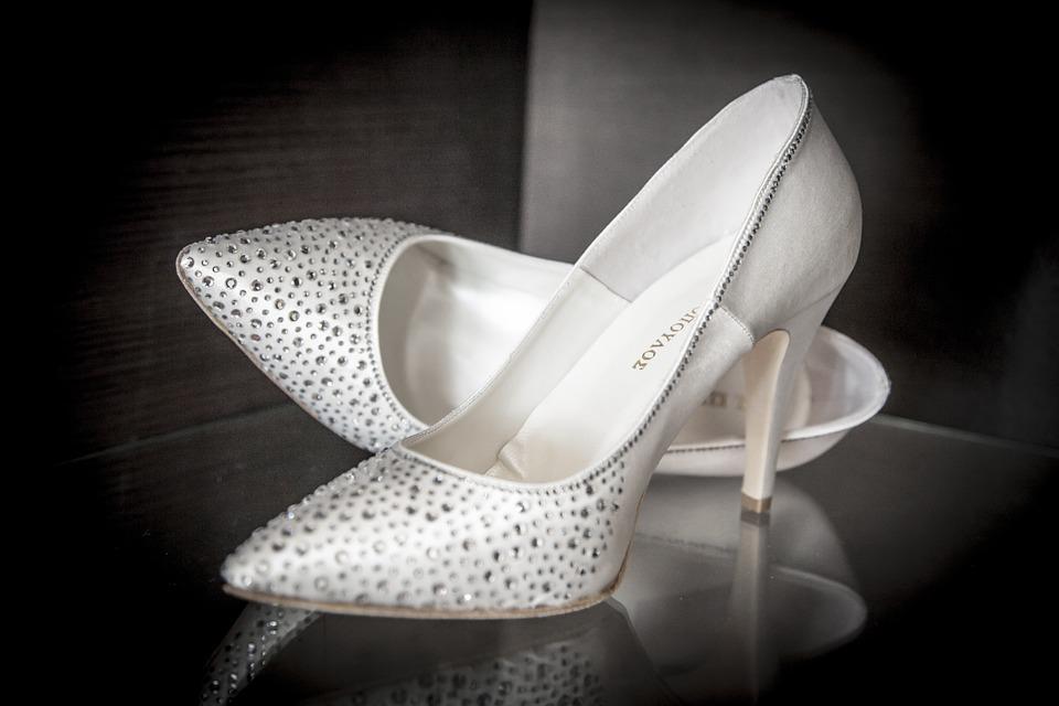 Talons Hauts, Bride, Blancs, Mariage, Chaussure