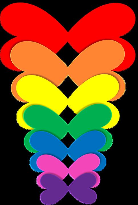 free illustration rainbow hearts butterflies free