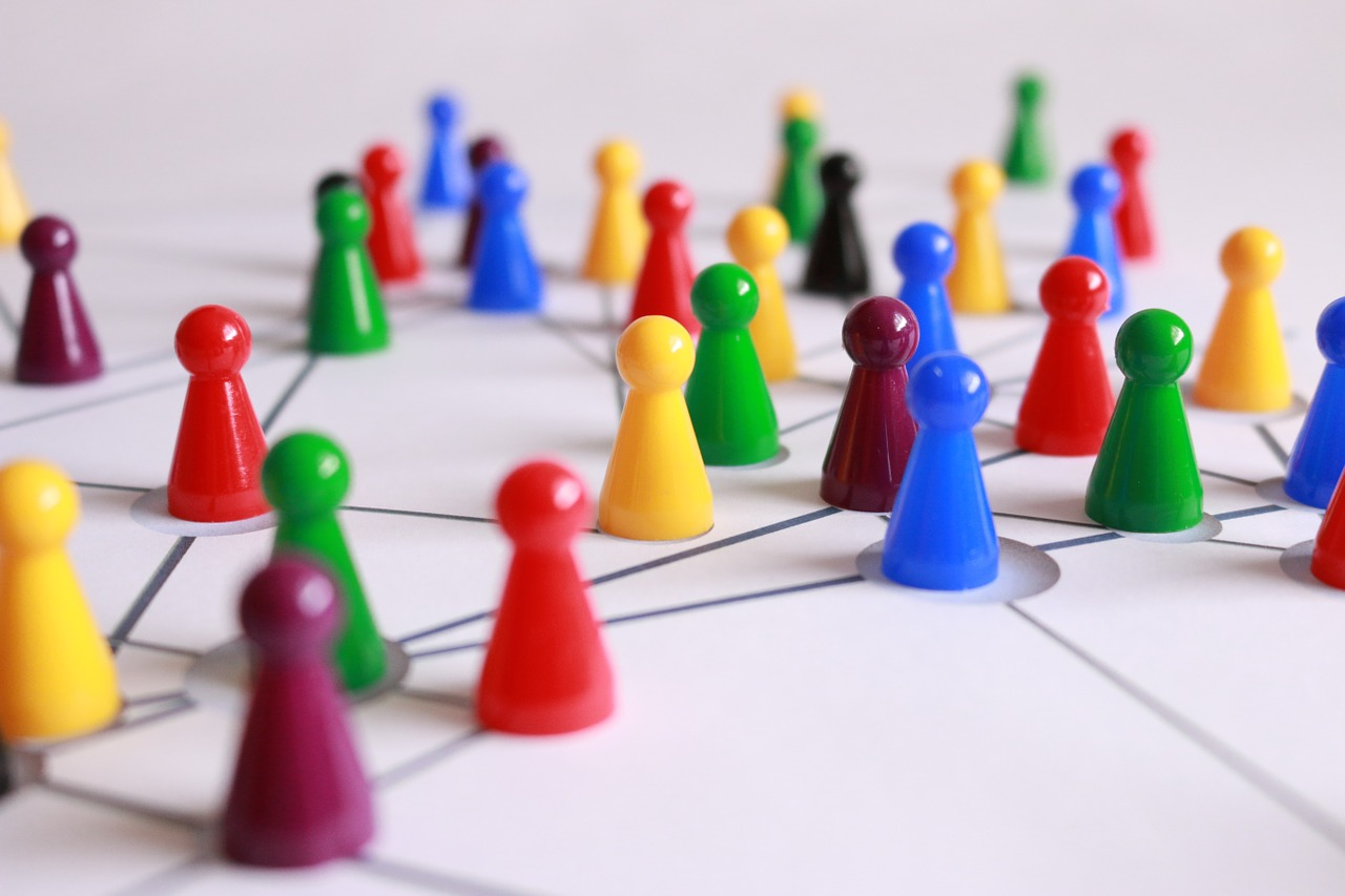 Plastic play pieces on a network