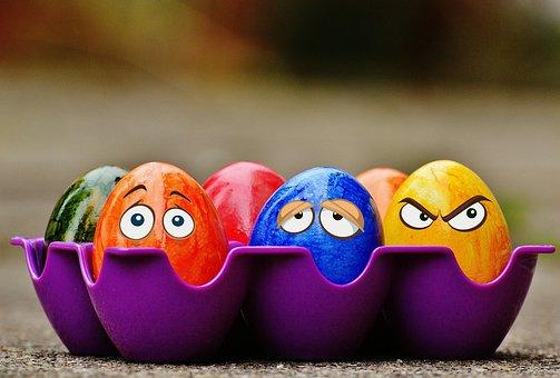 Wielkanoc Pisanki Zabawny Oczy Kolorowy We