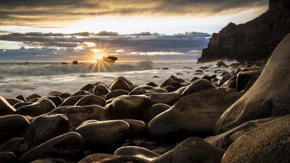 Felsen, Strand, Meer, Ozean, Sonne, Sonnenuntergang