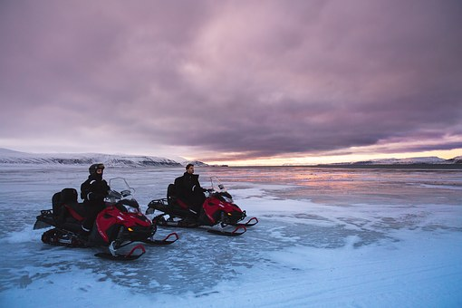 Snowmobiles, Glacier, Snow, North Pole