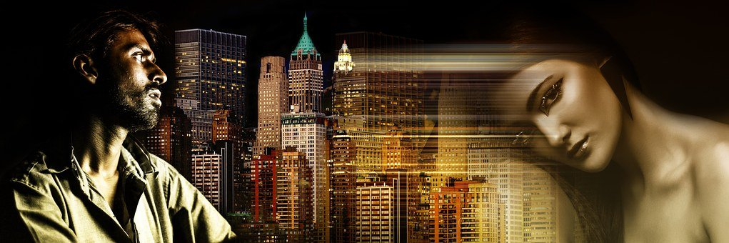 Man Woman View Skyline New York Love