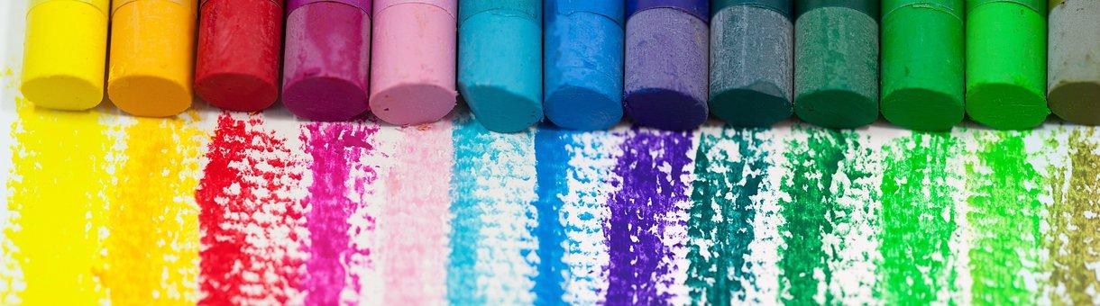 色, オイル パステル, カラフル, カラー スペクトル, ペイント, 紙