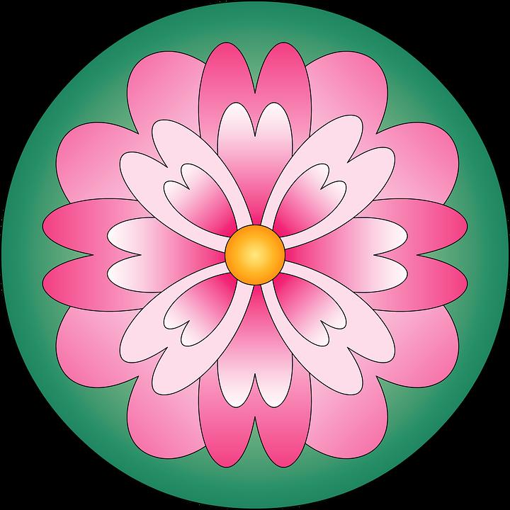 Flower Mandala Color Pink Green