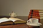 kawa, książki, czytanie