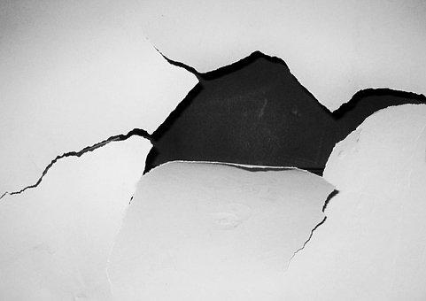 穴, クラック, 壁, ホワイト, 黒と白, おかしい, 壊れた, 翻訳元