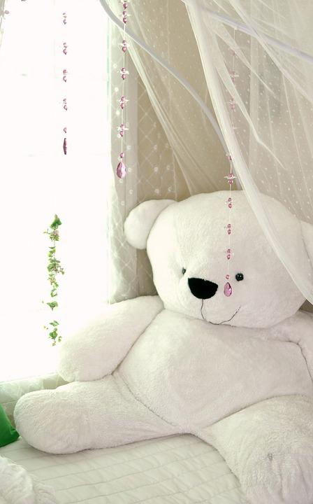 winnie pop white bed gordijn
