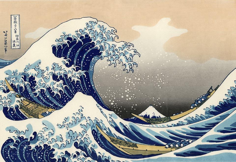 イメージ, 木版印刷, 木版画, 波, 惣領の前に大きな波, 日本語, アートワーク, 葛飾北斎, 北斎