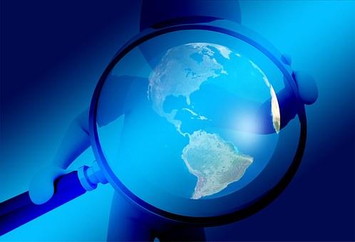 手, 虫眼鏡, 地球, グローブ, 調査, 分析, 検索, コントロール, 監視