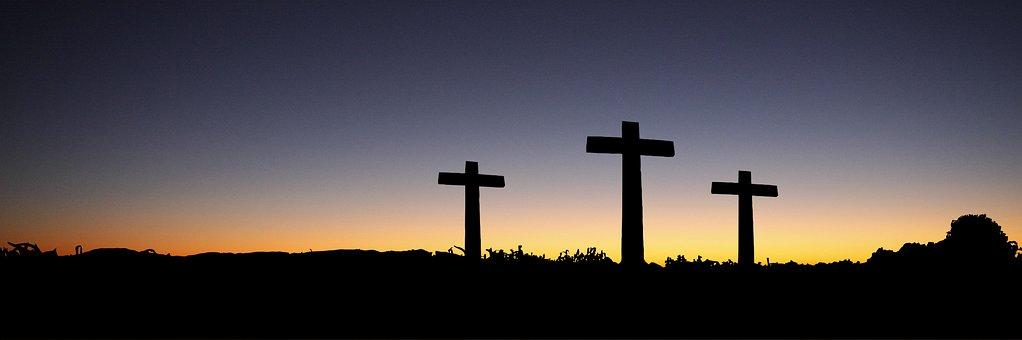 Bannière, En Tête, Pâques, Croix, Sunset