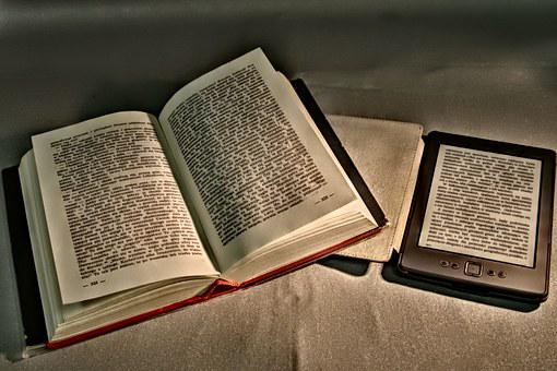 An opened printed book and an eBook signifying 40 advantages and disadvantages of printed books and eBooks