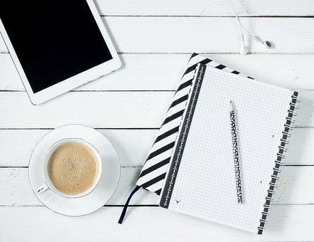 タブレット, メモ, コーヒー, ワークデスク, ヘッドフォン, 鉛筆